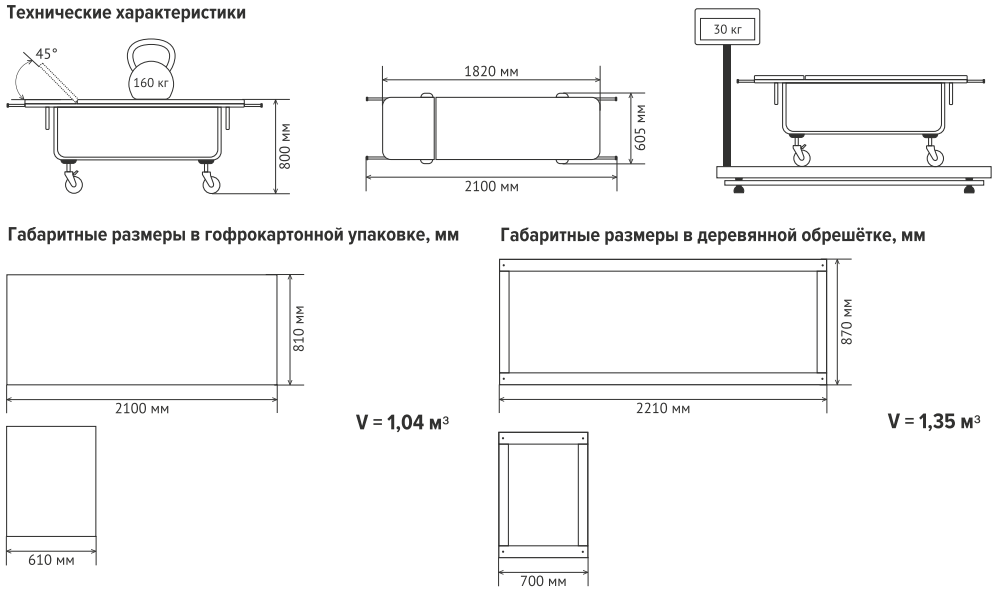 Тележка для перевозки больных, со съемной панелью ТБС-01 (Панель без подголовника, колеса диаметром 200 мм)