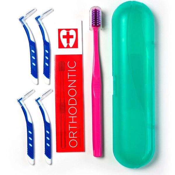 Ортодонтический набор Pesitro (зубная щетка для брекетов, зубные ершики)